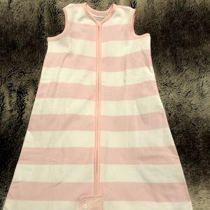 Pink and white Burt's bees sleep sack 6-12 mo